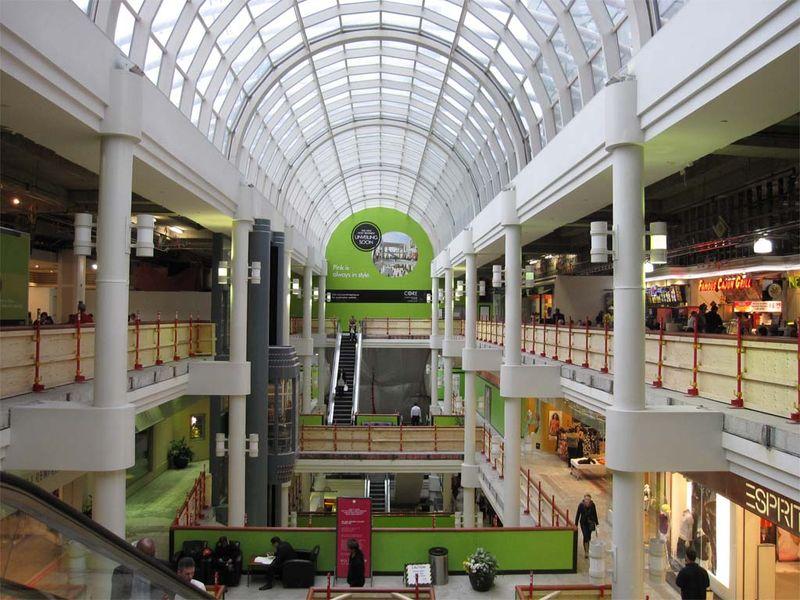 Temporary Guardrails in Shopping Arcade CORE Calgary
