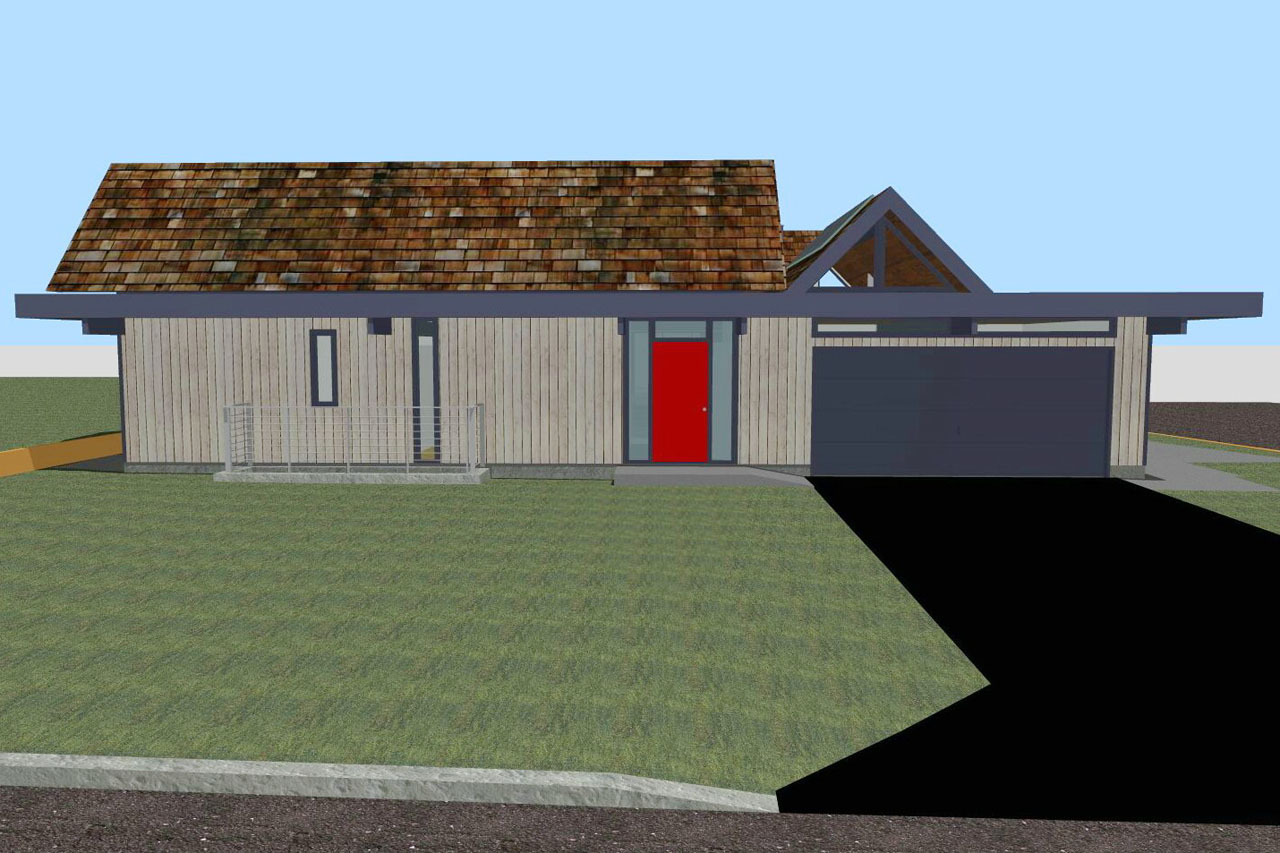 Front Elevation Roof : A rendered version of the front elevation location