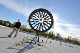 The wind turbine installed on top of SCU's facilities building is being monitored for its effectiveness and energy production output