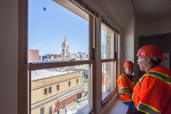 Studio apartments on the higher floors at Kelly Cullen Community have great views of the city. (Photo by Oliver Shay)