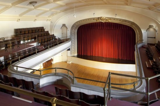 View of the finished auditorium from the balcony level with its original seating at Kelly Cullen Community. (Photo by Mark Luthringer)