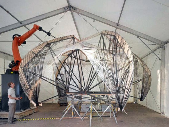 The ICD/ITKE Research Pavilion 2012 was robotically fabricated from carbon and glass fiber composites, a project where architectural and engineering researchers investigated the possible interrelation between biomimetic design strategies and novel processes of robotic production. (Photo courtesy ICD)