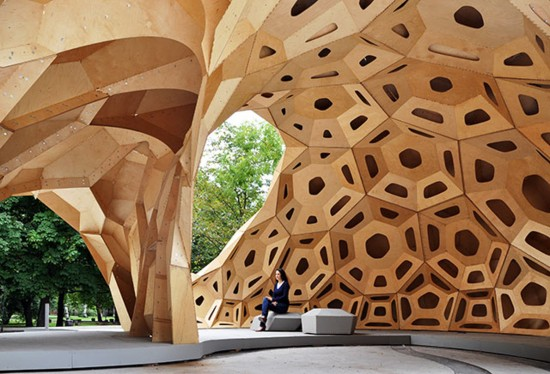 The ICD/ITKE Research Pavilion 2011 was robotically fabricated from extremely thin sheets of plywood (6.5 mm). The temporary structure represented the architectural transfer of biological principles of the sea urchin's plate skeleton morphology by means of novel computer-based design and simulation methods, along with computer-controlled manufacturing methods for its building implementation. (Photo courtesy ICD)