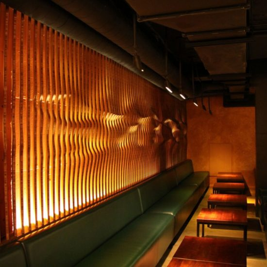 San Francisco-based design firm Matsys created a few sexy walls for restaurant Roka Akor from Amber Plyboo designed with Rhino and Grasshopper. (Photo courtesy Matsys)