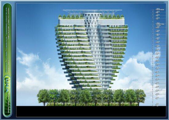 Elevation ofAgora Garden designed byParis-based Belgian architectVincent Callebaut.(Image courtesyVincent Callebaut Architectures)