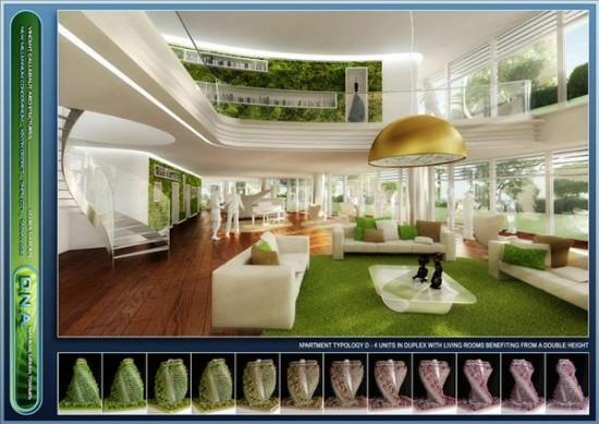 Interior view of a unit in the Agora Garden.(Image courtesyVincent Callebaut Architectures)