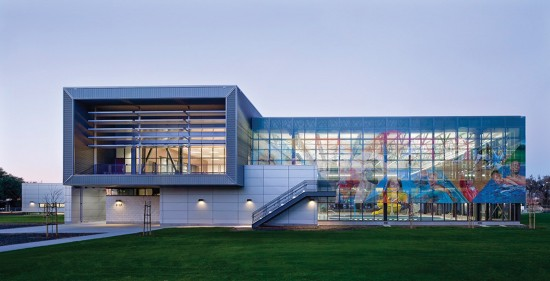 The LEED Silver certified East Oakland Sports Center is located in Oakland, California and designed by ELS Architecture and Urban Design. (Photo by David Wakely)