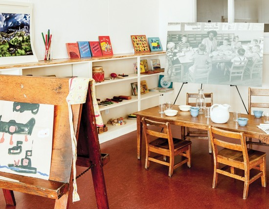 The Maritime Center's National Park Service Interpretive Center is furnished with child-sized tables and chairs, art easels, wooden toys and other artifacts from the WWII Richmond childcare centers. (Photo by Eric Chiu)