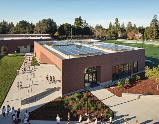 The Stevens Library at Sacred Heart Schools located in Atherton, California is designed by San Francisco- and Honolulu-based WRNS Studio and features a solar photovoltaic system that will help achieve net zero energy usage. (Photo by Bruce Damonte)