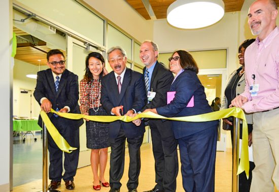 San Francisco Mayor Ed Lee, Director of Primary Care Homeless Services for the San Francisco Department of Public Health and the Clinic's Medical Director Dr. Joseph Pace, and other community members marked the grand opening of the Tom Waddell Urban Health Clinic at a ribbon cutting ceremony in the fall of 2013. (Photo courtesy Mayor Ed Lee)