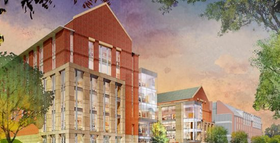 Rendering of the new Rutgers Academic Building for the School of Arts & Sciences at the College Avenue Campus at Rutgers University. (Image courtesy DEVCO)