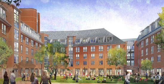 Rendering of the Honors College Residence Hall at the College Avenue Campus at Rutgers University. (Image courtesy DEVCO)