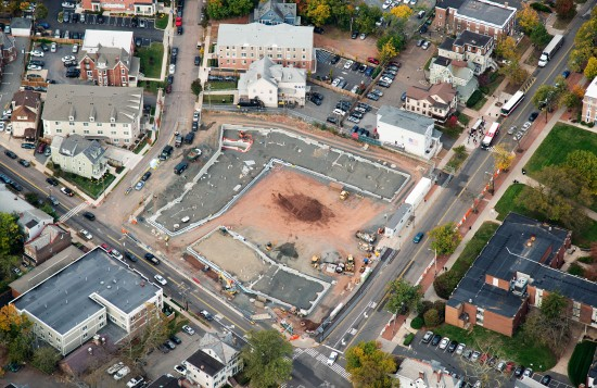 Aerial view of Lot 8, the University Apartments  at the College Avenue Campus at Rutgers University. (Photo courtesy DEVCO)