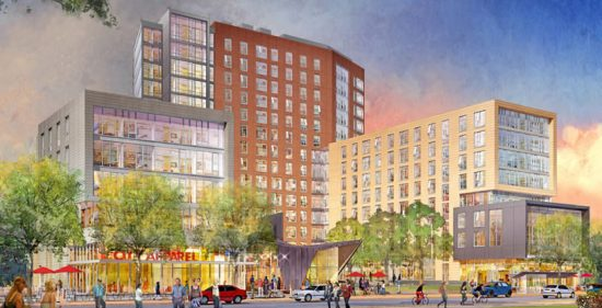 Rendering of the University Apartments at the College Avenue Campus at Rutgers University. (Image courtesy DEVCO)