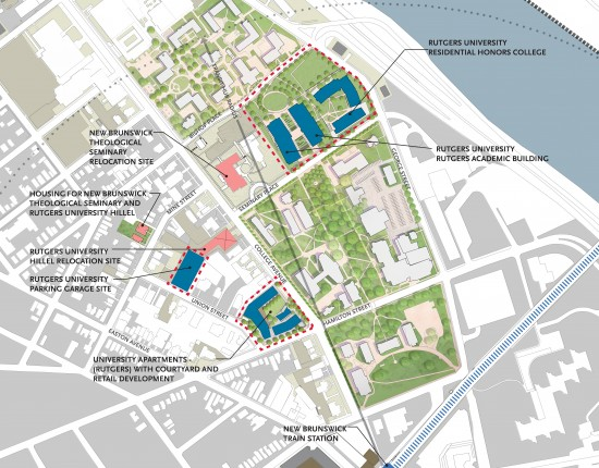 Site Plan of the College Avenue Redevelopment Initiative created by Rutgers University in partnership with New Brunswick Development Corporation. (Image courtesy DEVCO)