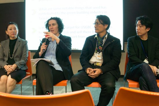 Panelists Jane Henley of USGBC, Freda Tsai of Taipei 101, Ben Chu of Sunrise Professional Engineering Corporation, and Peter Hsu of AECOM Taiwan discuss the challenges and opportunities of LEED v4 in Taiwan. (Photo by Mignon O'Young)