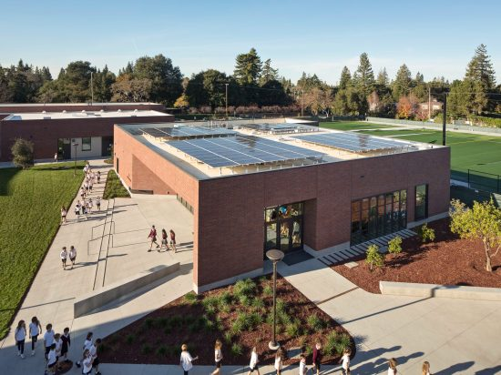 An aerial view of Sacred Heart Lower and Middle School's Stevens Library located in Atherton, California. Designed by WRNS Studio. (Photo by Bruce Damonte)