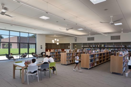 All interior finishes in the Stevens Library are low-VOC. (Photo by Bruce Damonte)