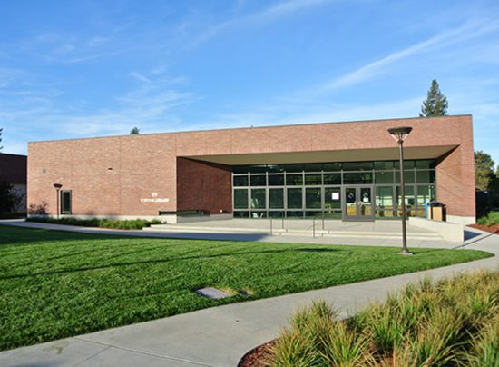 The entry elevation of Stevens Library at Sacred Heart Lower and Middle School located in Atherton, California. (Photo by Bruce Damonte)