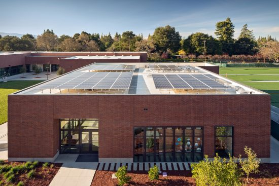 A view of Stevens Library's rooftop with the solar photovoltaic system. (Photo by Bruce Damonte)
