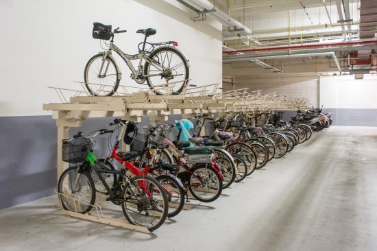 Secured bicycle parking and showering facilities are provided in the basement level of Hua Nan Bank Headquarters. (Photo by Mignon O'Young)