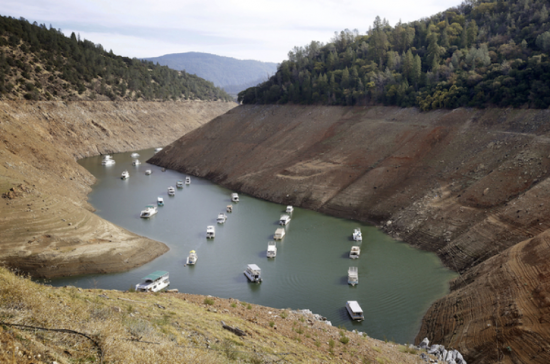 Drought conditions in California have lowered water levels significantly in reservoirs and lakes. Source: http://www.csmonitor.com/Business/The-Bite/2015/0402/As-drought-rages-California-farmers-find-ways-to-conserve-water
