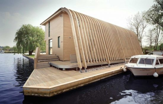 Accoya wood graces the cladding and decking of this structure. (Image courtesy Accsys Group)