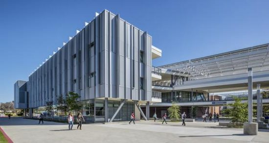The Los Angeles Harbor College Science Complex achieved NZE and LEED Platinum certifications, avoiding 600,000 +/- pounds of CO2 emissions and offsetting 2,000,000 +/- pounds of CO2 by ZNE strategies. (Photo courtesy hGA Architects and Engineers)