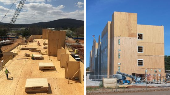 The four-story, 92-unit Candlewood Suites' walls, floors, ceilings, and stair and elevator shafts required 1606 cubic meters of CLT and 34 cubic meters of glulam supplied by Nordic Structures in Quebec. (Photo courtesy Nordic Structures)
