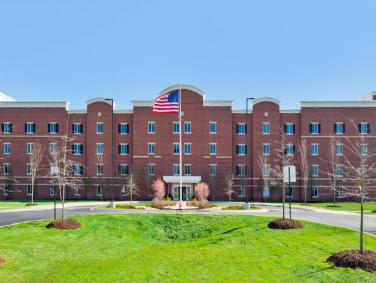 Candlewood Suites Hotel constructed with CLT looks like a regular building from the outside. (Photo courtesy IHG Army Hotels)