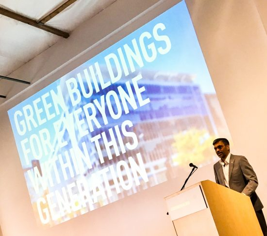 The GreenerBuilder 2017 Conference was attended by well over 360 people and started off with a keynote from Mahesh Ramanujam, President and CEO of the U.S. Green Building Council. (Photo courtesy USGBC)
