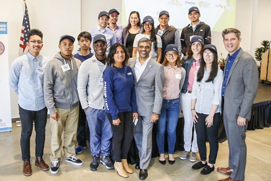Mahesh Ramanujam, President and CEO of the USGBC and Brendan McEneaney, Pacific Regional Director of USGBC welcome the next generation of green builders from the Construction Industry Workforce Initiative. (Photo courtesy USGBC)