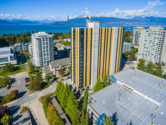 Targeting LEED Gold certification, the 18-story Brock Commons - Tallwood House is the newest residential tower for over 400 University of British Columbia students and is the tallest mass timber building in the world. The structure was completed in less than seventy days after the prefabricated components were delivered to the jobsite. (Photo courtesy University of British Columbia)