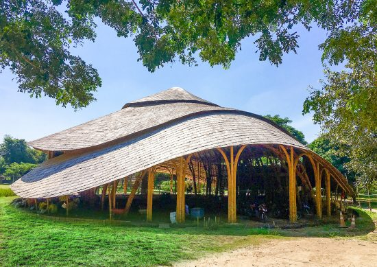 Bamboo Sports Hall for Panyaden International School designed by Chiangmai Life Architect and located in Chiangmai, Thailand. (Photo courtesy Chiangmai Life Architect)