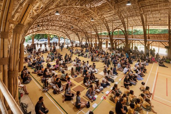 The Bamboo Sports Hall for Panyaden International School located in Chiangmai, Thailand is 782 square meters and can accommodate 300 people. (Photo courtesy Chiangmai Life Architect)