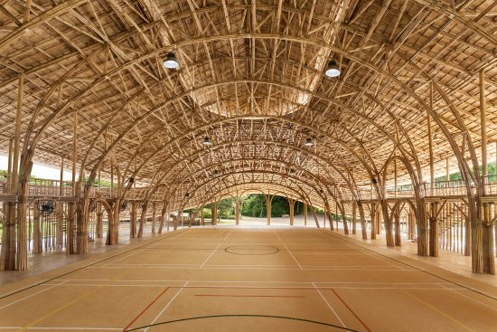 The Bamboo Sports Hall for Panyaden International School located in Chiangmai, Thailand is built out of bamboo, a rapidly renewable material. (Photo courtesy Chiangmai Life Architect)
